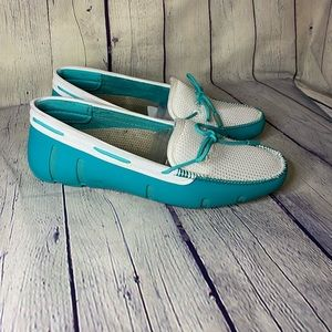 Swims Lace Loafer Boat Shoes Turquoise/White 37